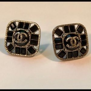 Chanel Geometric Studs with Black Crystals